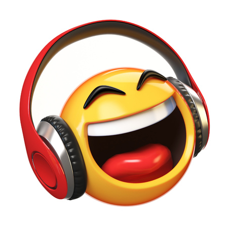 Music emoji with headphones isolated on white background, emoticon with earphones 3d rendering Archivio Fotografico