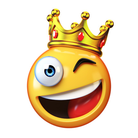King emoji isolated on white background, emoticon wearing crown 3d rendering