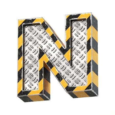 Industrial black and yellow striped metallic font, 3d rendering, letter N Reklamní fotografie