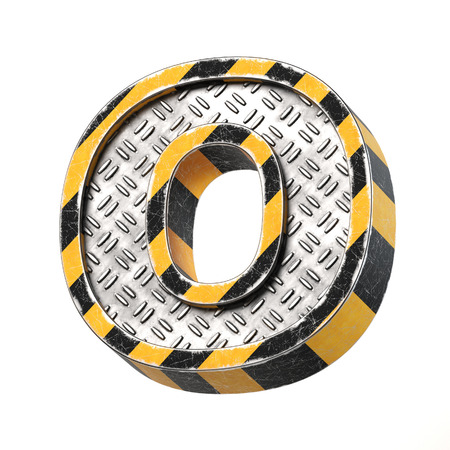Industrial black and yellow striped metallic font, 3d rendering, letter O