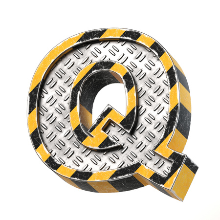 Industrial black and yellow striped metallic font, 3d rendering, letter Q Stock Photo