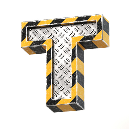 Industrial black and yellow striped metallic font, 3d rendering, letter T 免版税图像