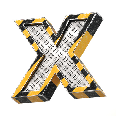 Industrial black and yellow striped metallic font, 3d rendering, letter X Stock Photo