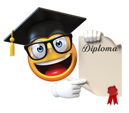 Estudiante graduado de Emoji aislado en el fondo blanco, casquillo de la graduación del emoticon que lleva que lleva a cabo la representación 3d del diploma