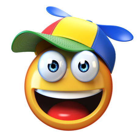 Smiling emoji wearing kid cap with propeller isolated on white background, emoticon with colorful hat 3d rendering