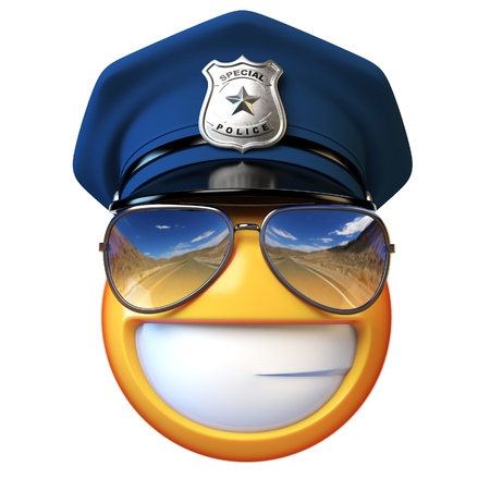 Policeman emoji isolated on white background, cop with sunglasses emoticon 3d rendering