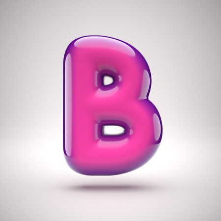 round pink glossy font 3d rendering letter b stock photo