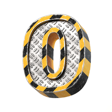 Industrial black and yellow striped metallic font, 3d rendering, number 0 免版税图像