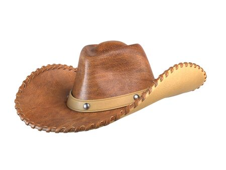Cowboy hat isolated on white background 3d rendering