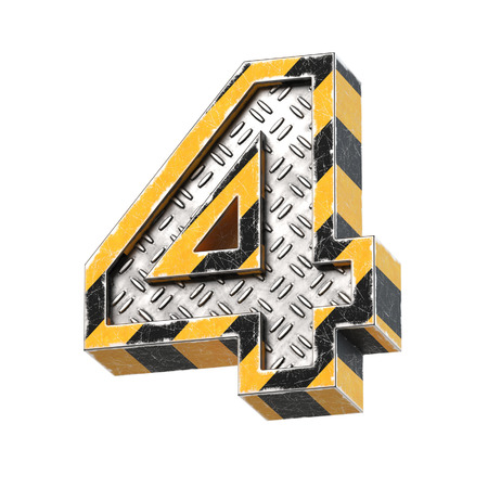 Industrial black and yellow striped metallic font, 3d rendering, number 4