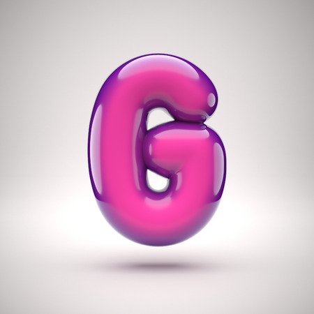 Round pink glossy font 3d rendering letter G Stock fotó