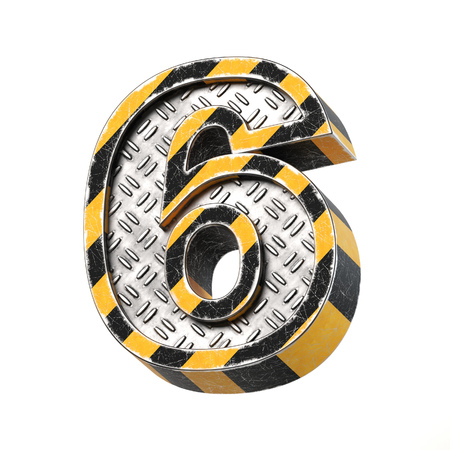 Industrial black and yellow striped metallic font, 3d rendering, number 6