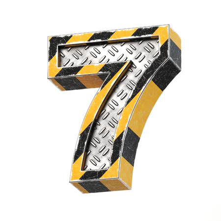 Industrial black and yellow striped metallic font, 3d rendering, number 7