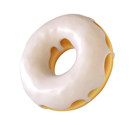 Glazed donut, white frosting doughnut 3d rendering Zdjęcie Seryjne