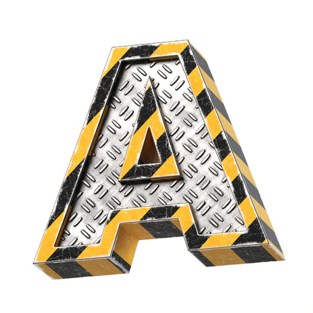 Industrial black and yellow striped metallic font, 3d rendering, letter A