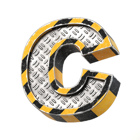 Industrial black and yellow striped metallic font, 3d rendering, letter C Stock Photo