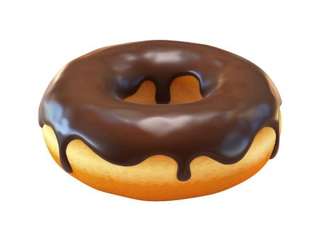 チョコレートドーナツまたはドーナツ 3D レンダリング 写真素材