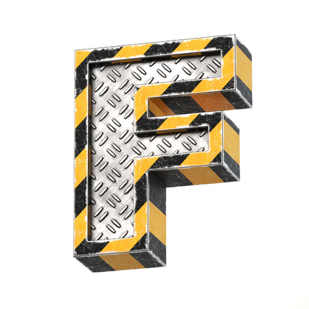 Industrial black and yellow striped metallic font, 3d rendering, letter F