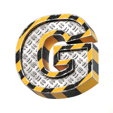 Industrial black and yellow striped metallic font, 3d rendering, letter G