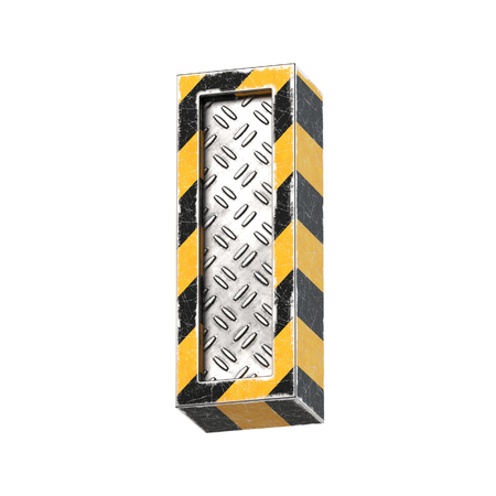 Industrial black and yellow striped metallic font, 3d rendering, letter I