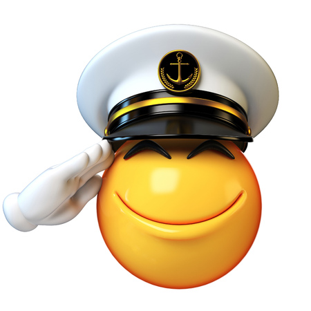 Marines hat emoji isolated on white background, admiral emoticon wearing navy cap 3d rendering Stock Photo