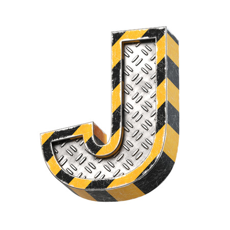Industrial black and yellow striped metallic font, 3d rendering, letter J Stock Photo
