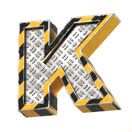 Industrial black and yellow striped metallic font, 3d rendering, letter K