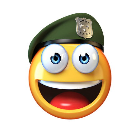 Emoji army solider isolated on white background, military emoticon wearing beret saluting 3d rendering