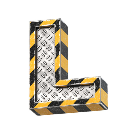 Industrial black and yellow striped metallic font, 3d rendering, letter L Reklamní fotografie