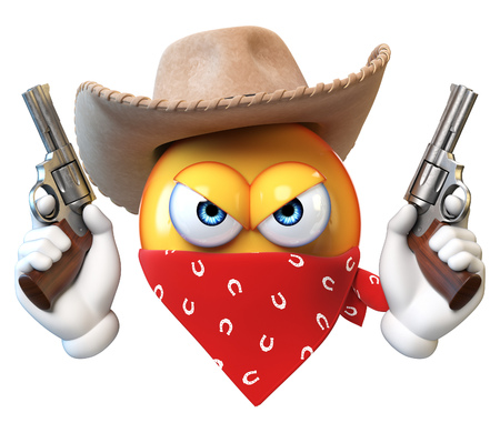 Bandit emoji isolated on white background, wild west robber emoticon 3d rendering