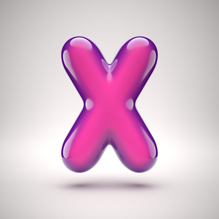 Round pink glossy font 3d rendering letter X Stock Photo