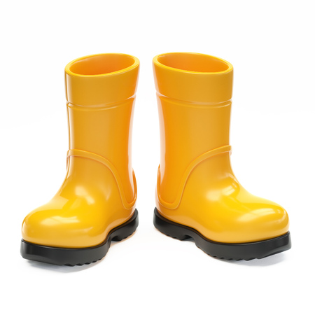 Yellow rubber rain boot isolated on white background 3d rendering