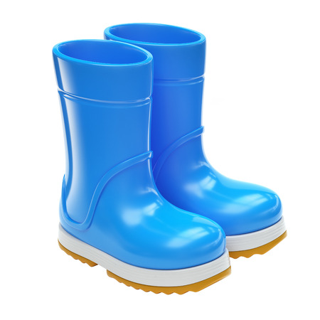 Blue rubber rain boots isolated on white background 3d rendering Stock Photo