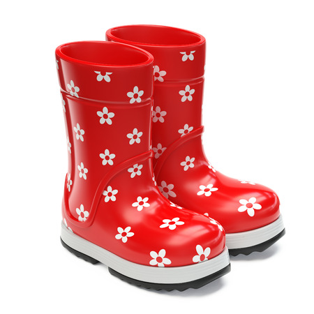 Red rubber rain boots isolated on white background 3d rendering
