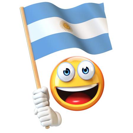 Emoji holding Argentinian flag, emoticon waving national flag of Argentina 3d rendering