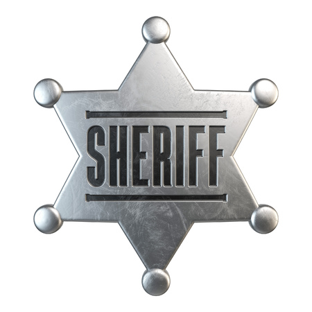 Sheriff badge isolated on white background 3d rendering Stock Photo