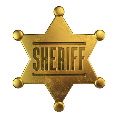 Sheriff badge isolated on white background 3d rendering Foto de archivo