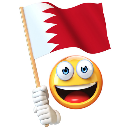 Emoji holding Bahrain flag, emoticon waving national flag of Bahrain 3d rendering Stock Photo