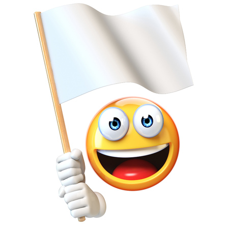 Emoji holding white flag, emoticon waving blank flag with copy space 3d rendering Stock Photo