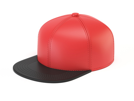 Black and red snap back mock up, blank hat template, isolated on white background 3d rendering Фото со стока