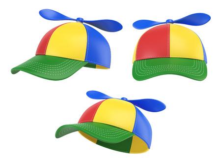 プロペラ、カラフルな帽子、様々なビュー、3Dレンダリングとキッズキャップ 写真素材