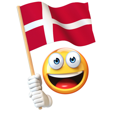 Emoji holding Denmark flag, emoticon waving national flag of Denmark 3d rendering