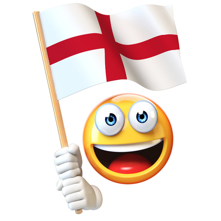 Emoji holding England flag, emoticon waving national flag of England 3d rendering