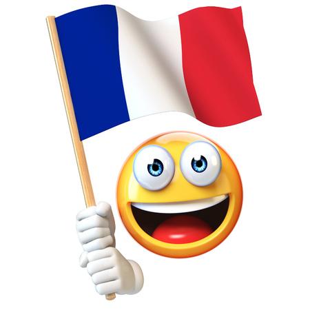 Emoji holding French flag, emoticon waving national flag of France 3d rendering 写真素材