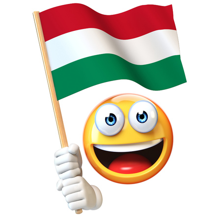 Emoji holding Hungarian flag, emoticon waving national flag of Hungary 3d rendering Stock Photo