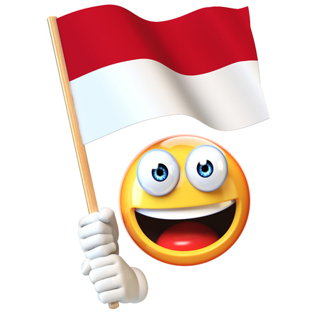 Emoji holding Indonesian flag, emoticon waving national flag of Indonesia 3d rendering