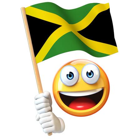 Emoji holding Jamaican flag, emoticon waving national flag of Jamaica 3d rendering Stock Photo