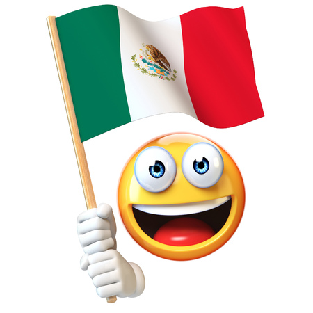 Emoji holding Mexican flag, emoticon waving national flag of Mexico 3d rendering