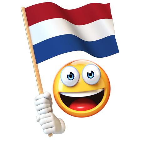 Emoji holding Netherlands flag, emoticon waving national flag of Netherlands 3d rendering 写真素材