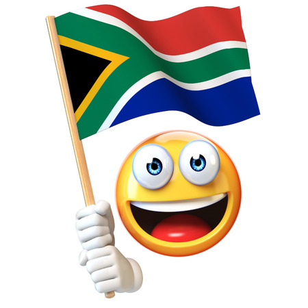 Emoji tenant le drapeau sud-africain, émoticône agitant le drapeau national de l'Afrique du Sud rendu 3d